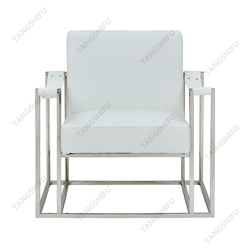 TSF-6618-White PU with Silver Stainless steel Accent chairs