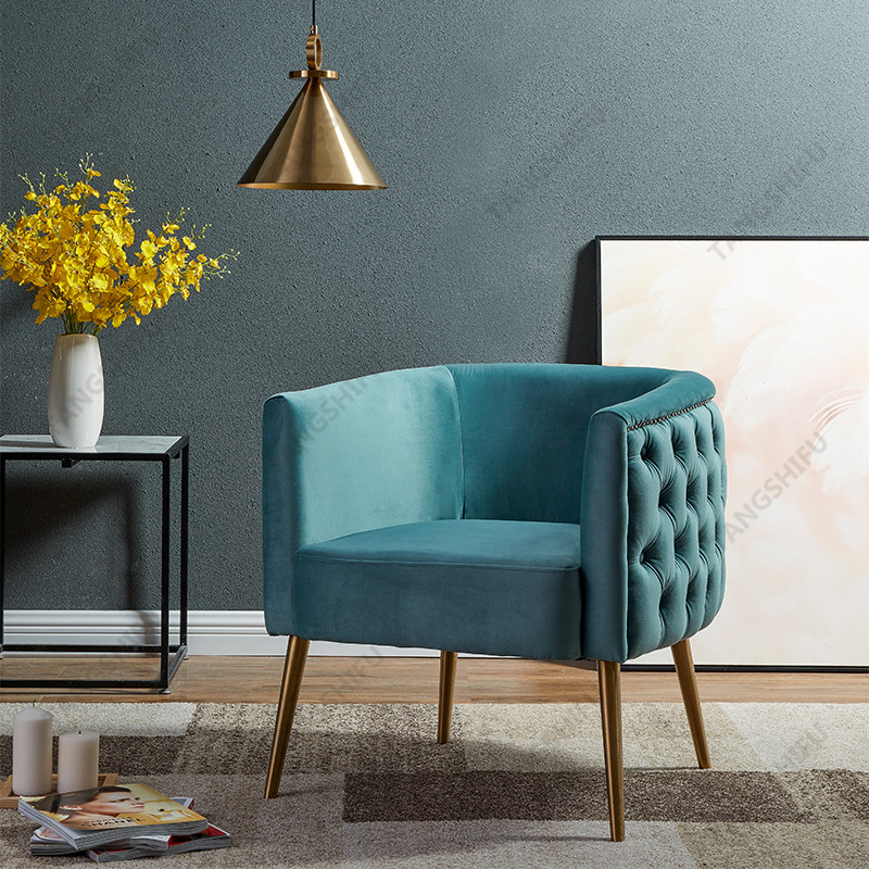 TSF-6622-Ligh Blue Gold-CC Accent chairs