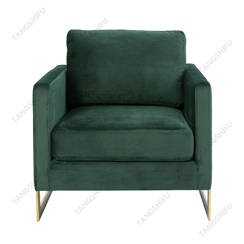 TSF-77241-Green Velvet with Brass Golden Stainess Steel Accent chairs