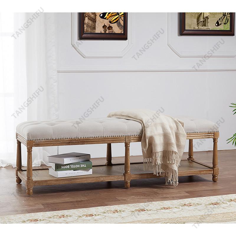 TSF-9336-Beige Rectangle Ottoman Living room furniture