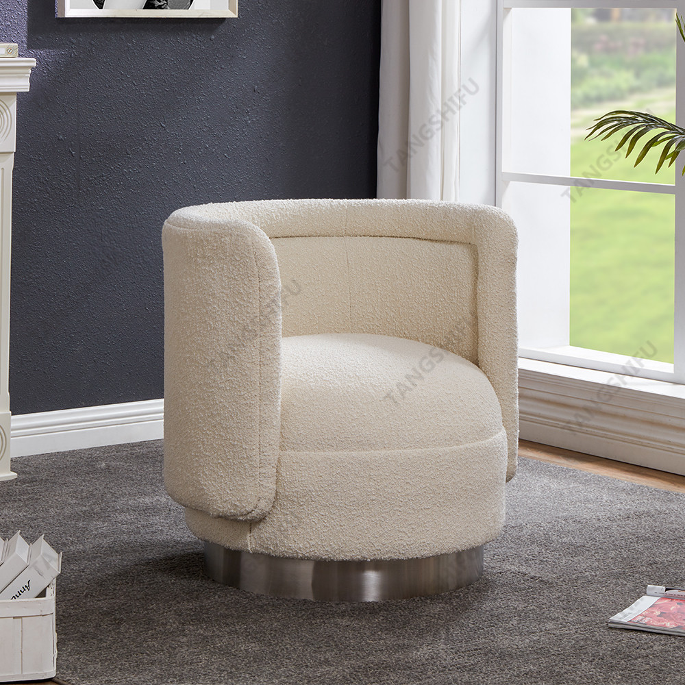 TSF-6653-Sherpa with Silver Swivel Base Accent chairs